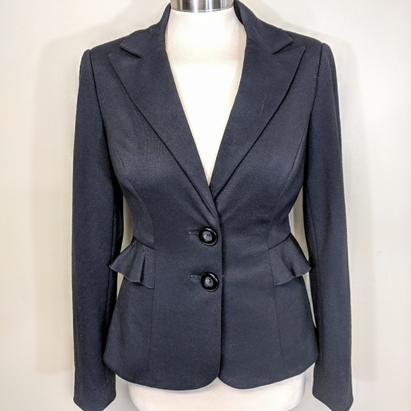 Kay Unger Jackets & Blazers - Kay Unger Stretch Knit Ruffle Blazer